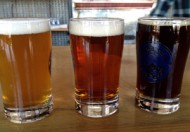 Three small glasses of craft brew